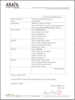 戸籍謄本の例